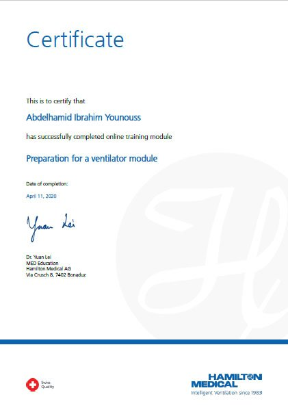 The graduate student at the BME department has received certificates of completion of training courses