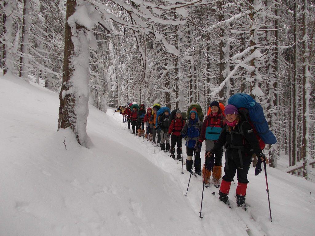 Туристи ХНУРЕ в зимових Карпатах