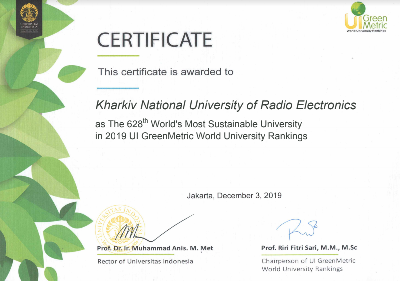 GreenMetric presented the results of the University's Environmental Sustainability Rating