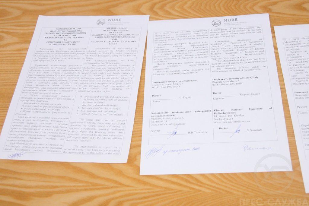 Ректор ХНУРЕ підписав меморандум про взаєморозуміння з Римським університетом «Сапієнца»
